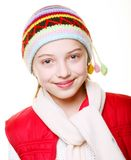 Little girl with clothes for the winter. Adorable little girl with clothes for the winter Stock Photography