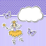 Little girl with cloud and butterflies Royalty Free Stock Photo