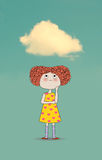 Little girl with a cloud over her head Stock Photography