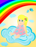 Little girl on the clouds. In sky ander rainbow Stock Photography