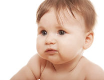 Little girl clouse up Stock Images