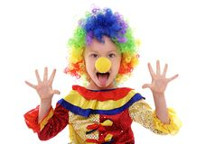 Little girl in a clown costume Royalty Free Stock Images