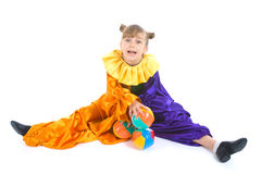 Little girl in clown costume Royalty Free Stock Images