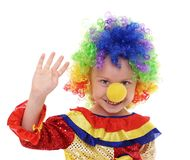 Little girl in a clown costume waving Stock Photography