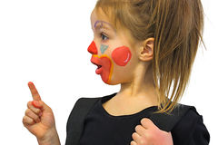 Little Girl With Clown Makeup Stock Photo