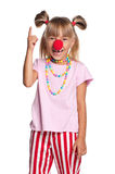 Little girl with clown nose Stock Images