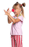 Little girl with clown nose Stock Photo