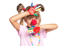 Little girl with clown nose Royalty Free Stock Photo