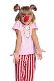 Little girl with clown nose Royalty Free Stock Image