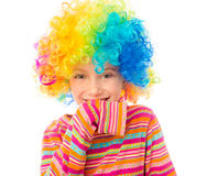 Little girl in clown wig Stock Photography