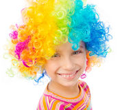 Little girl in clown wig Royalty Free Stock Photo