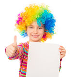Little girl in clown wig Stock Photo