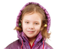 Little girl in coat with hood Royalty Free Stock Photos