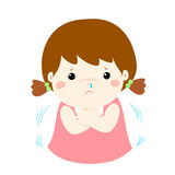 Little girl with a cold shivering  cartoon. Little girl with a cold shivering  cartoon illustration Stock Image