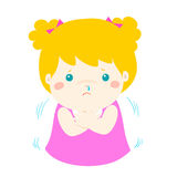 Little girl with a cold shivering cartoon . Little girl with a cold shivering  cartoon illustration Royalty Free Stock Images