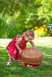 Little girl collects the apples Stock Images