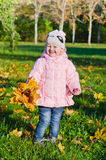 Little girl collects fallen down leaves in park Royalty Free Stock Photos