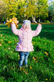 Little girl collects fallen down leaves in park Stock Photo
