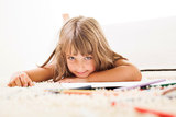 Little girl with color crayons Stock Photo