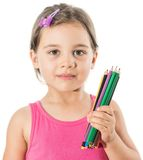 Little Girl With Color Pencils Stock Image