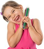 Little Girl With Color Pencils Royalty Free Stock Photography