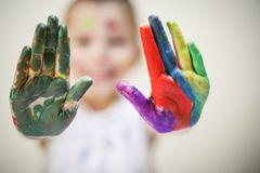 Painted hands. royalty free stock photos