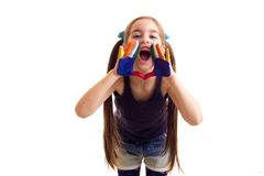 Little girl with colored hands Stock Photography