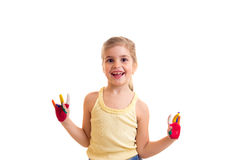 Little girl with colored hands Stock Images