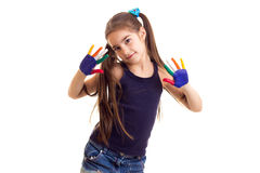 Little girl with colored hands Royalty Free Stock Images