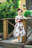 Little girl in colorful dress and flowers. Stock Photos