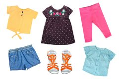 Little girl colorful fashion as clothes collage for Spring and summer isolated on white.  Stock Images