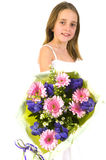Little girl with colorful flowers Royalty Free Stock Images