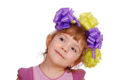 Little girl with colorful ribbons in hair Royalty Free Stock Images