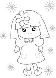 Little girl coloring page Stock Images
