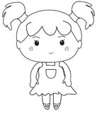 Little girl coloring page Royalty Free Stock Photography