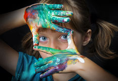 Little girl and colors stock images