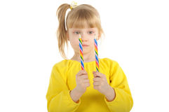Little girl with colour pencils Stock Photography