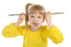 Little girl with colour pencils Royalty Free Stock Photos