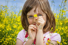 Little girl with colza flower Stock Photography
