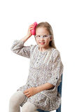 Little girl is combing by hair brush Royalty Free Stock Photos