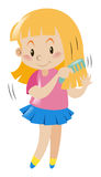 Little girl combing her hair. Illustration Royalty Free Stock Photography
