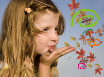 Little girl and communication Stock Photo