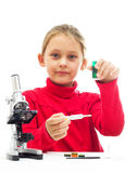 Little girl conducting research Royalty Free Stock Images