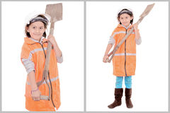 Little girl in construction clothes white Stock Image