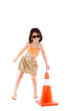 Little girl with construction cone Royalty Free Stock Photography