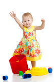 Little girl with construction set Royalty Free Stock Photo