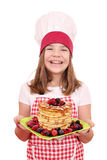 Little girl cook with American pancakes Royalty Free Stock Image