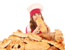 Little girl cook with bread Stock Photography