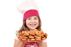 Little girl cook with bruschette Stock Images
