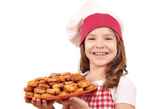 Little girl cook with bruschette Royalty Free Stock Photo